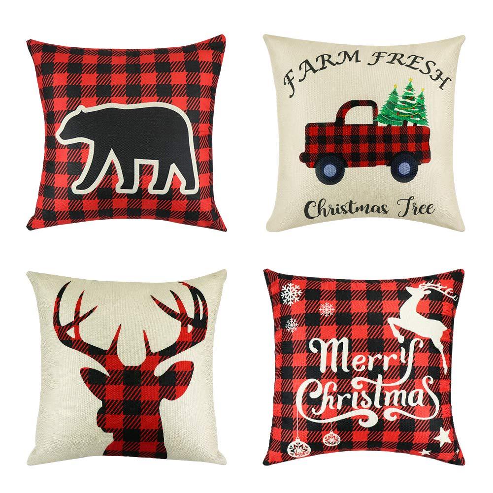 UTOPP Christmas Decorations Pillow Covers,4 Pcs Lumberjack Buffalo Plaid Farmhouse Decor Throw Pillow Cases, Home Decor Red Plaid Cushion Cover Cotton Linen Pillow Thanksgiving Christmas 18x18 Inches
