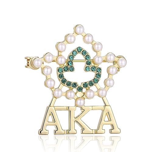 Lanqueen AKA Sorority Gifts, Vintage Crystal Pearl Brooch Gold Alpha Kappa  Alpha Paraphernalia Graduation Gifts for Women