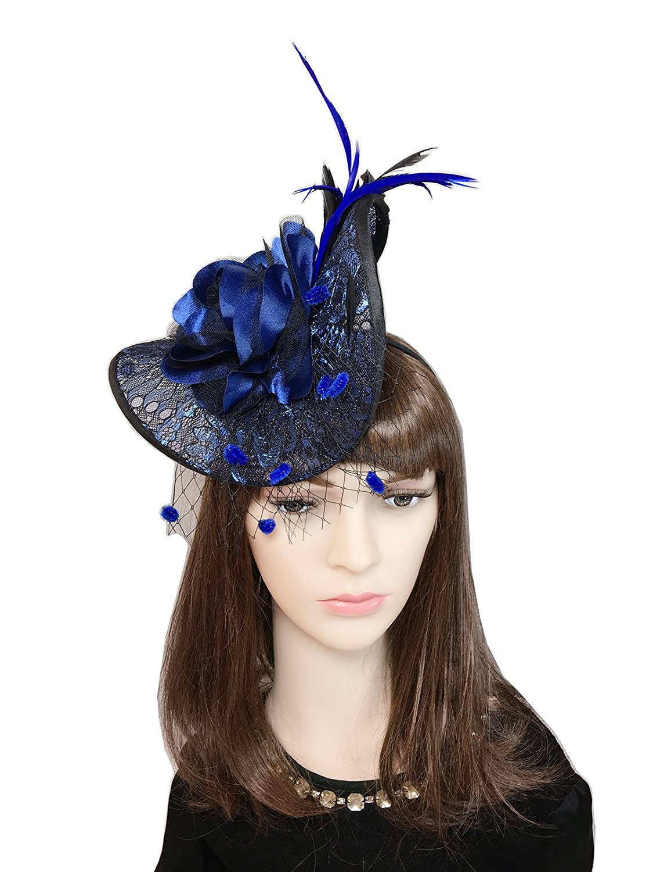 YSJOY Romantic Big Flower Dot Veil Mesh Lace Fascinator Irregular Derby Hat