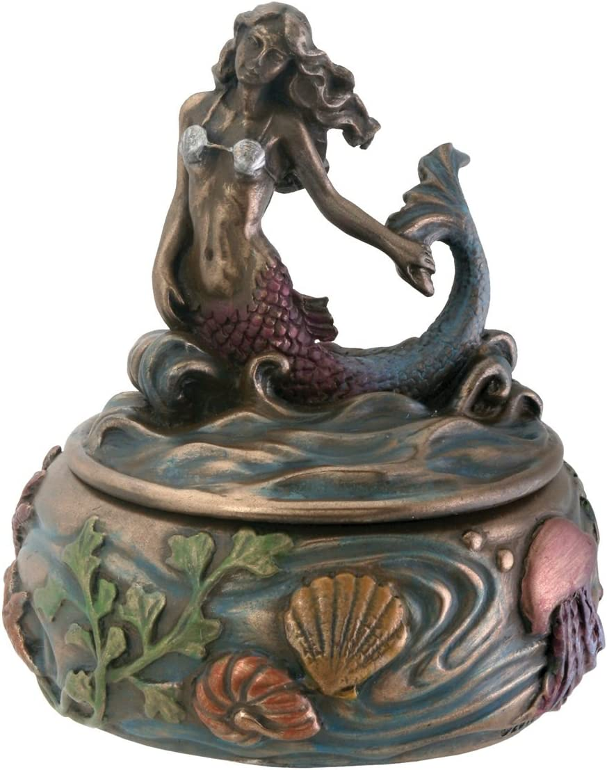 SUMMIT COLLECTION Riding Wave Mermaid Fantasy Art Nouveau Jewelry Box with Kelp and Sea Creature Display Decoration, 3 Inches