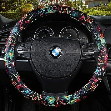 Rueda del volante del coche cubierta de cuatro estaciones universal (femenino) - cálido cómodo Respirable antideslizante La moda Funda para volante ...