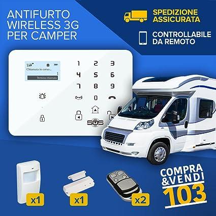 Compraevendi103 Kit de Alarma Antirrobo Para Caravana Camión Caravana de Alarma Inalámbrica Con Transmisor Gsm Sms