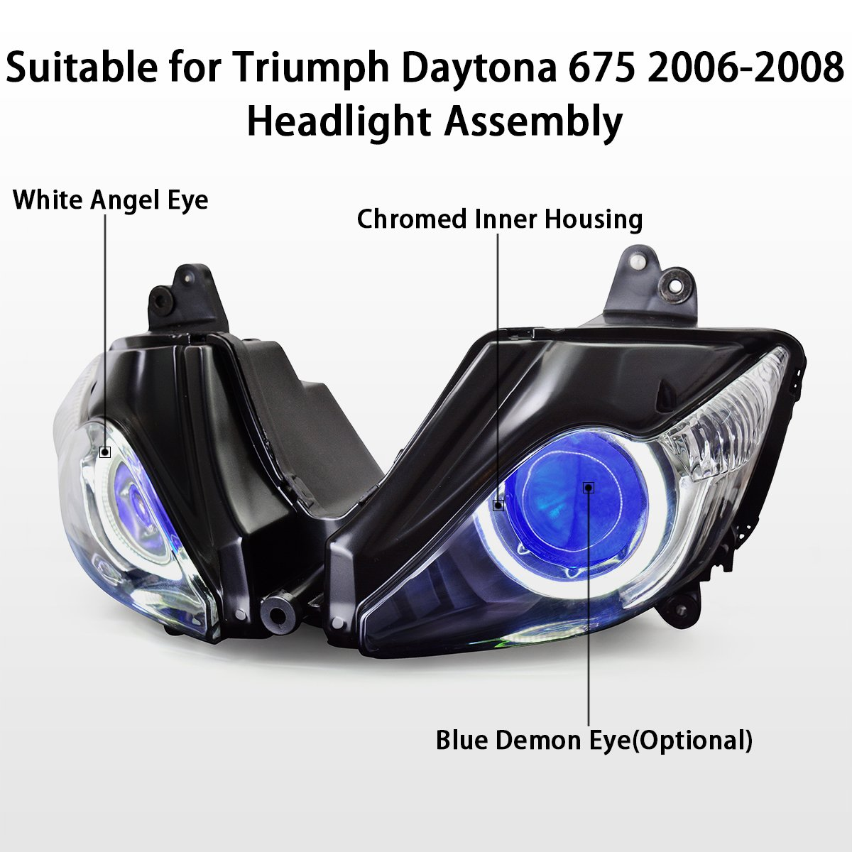 Amazon.com: KT LED Angel Eye Headlight Assembly for Triumph Daytona 675 2006-2008  Blue Demon Eye: Automotive