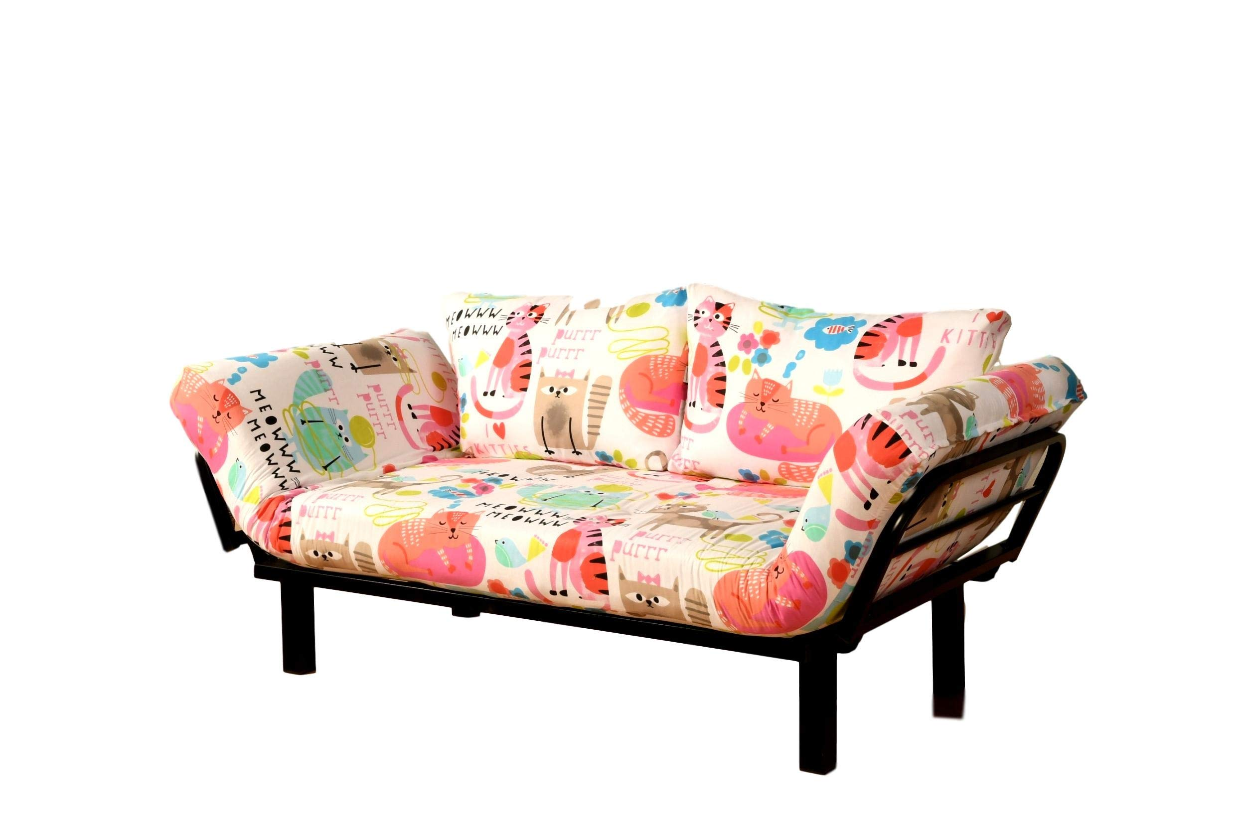 Best Futon Lounger Sit Lounge Sleep Smaller Size Furniture is Perfect for College Dorm Bedroom Studio Apartment Guest Room Covered Patio Porch Key Kitty Key Chain Included (PurrtyCat) by Kodiak