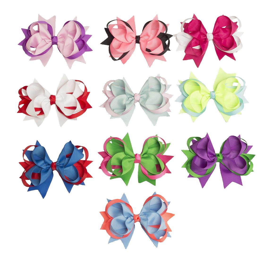 Elastics Hair Bows Ties—Aieasyda Grosgrain Ribbon Elastics Hair Bows Ties Ponytail Holder for Baby Girls Kids Teens Toddlers women (10pc-5inch-a)