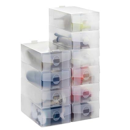 24 x Caja de Almacenamiento de Zapatos Transparente Apilable Plegable, Organizador de Zapatos de Hombres
