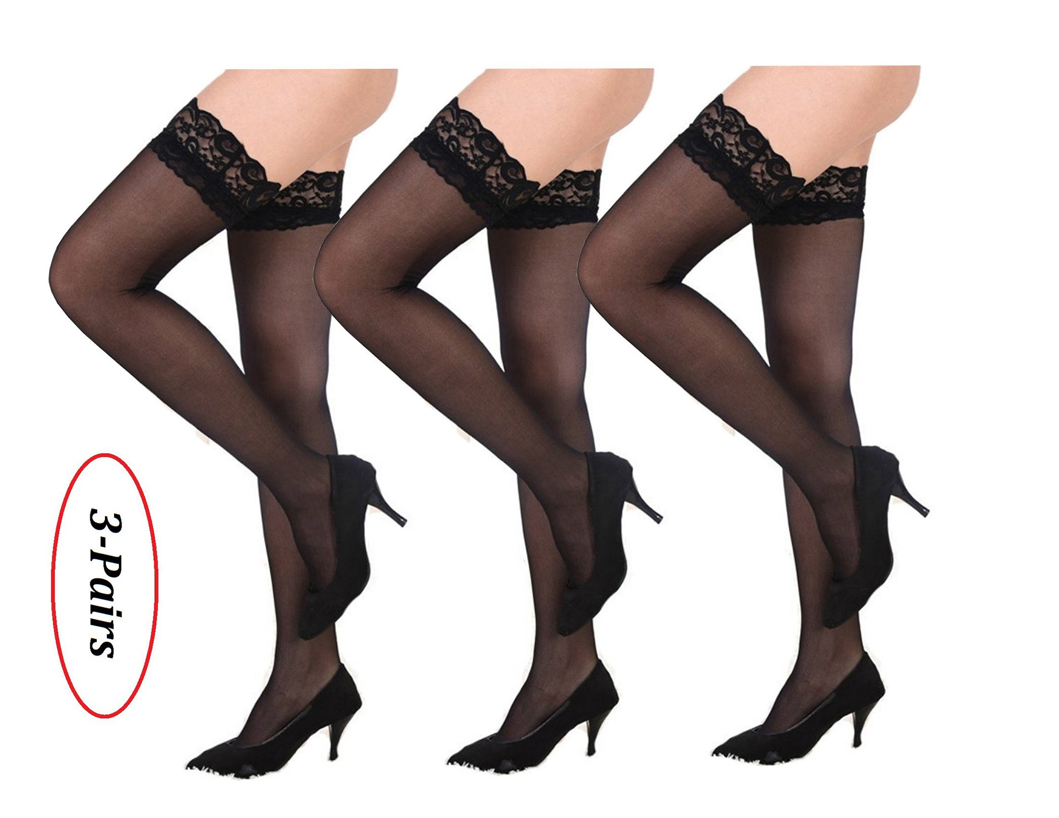 Thigh-High Stockings non-slip Silicone Sheer Lace Top Thigh High Over the Summer Style Sexy Knee Long Stockings (3-Pairs-Black) by RIER (Image #2)
