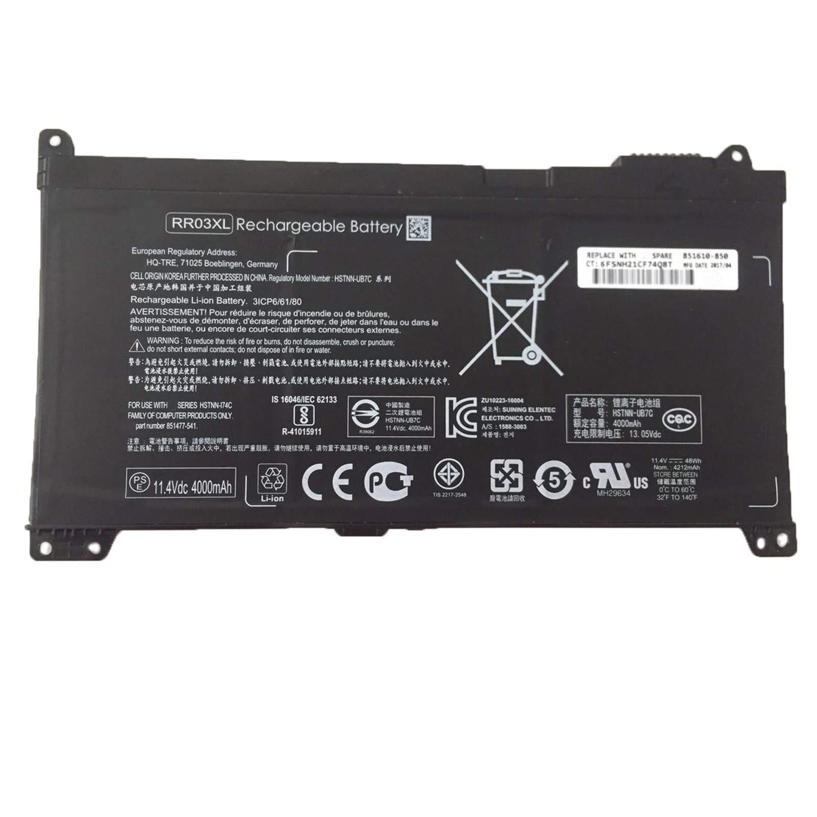 Bateria RR03XL 851610-850 para HP ProBook 430 440 450 455 47