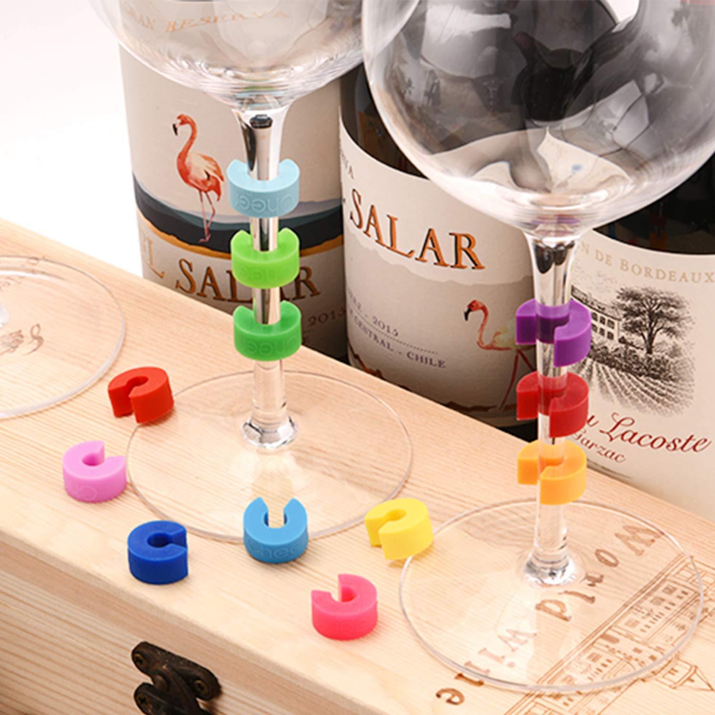 CHEER MODA Bicchieri da Vino Charms in Vetro da Vino Multicolore Set di 12 pennarelli per Cocktail Flute di Champagne Rendi la Tua Bevanda Identificatori di Vetro Unici e riutilizzabili Martinis