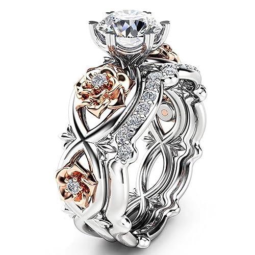 c6d492eaba2 FENDINA Women's Gorgeous 2 PCS CZ Vintage Engagement Wedding Ring Set Lotus  Flower Rose Gold Plated Two-tone Bridal Eternity Rings
