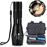 LED Tactical Flashlight, ustopfire Super Bright 2000 Lumens Cree XM-L2 Zoomable Flashlights, 5 Modes LED Handheld Flashlight, Portable Adjustable Water Resistant Flash light with Battery and Charger