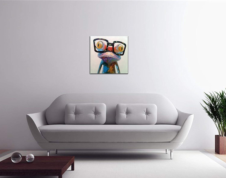 Fokenzary handgemaltes /Ölgem/älde auf Leinwand fertig gerahmt und bereit zum Aufh/ängen 60 x 60 cm niedlicher Frosch mit Brille