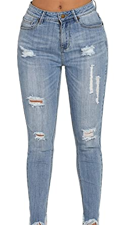 2577251977d Shawhuwa Ladies Summer Distressed Slim Fit Stretch Ripped Hole Skinny Jeans  Knee Slit Cropped Fringe Trendy