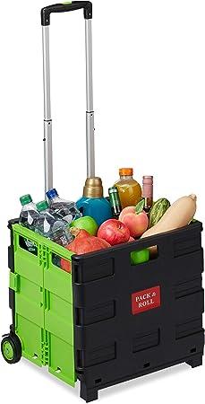 Relaxdays Carrito Compra Plegable, 2 Ruedas, Caja Transporte, hasta 35 kg, 98 x 45,5 x 37 cm, Plástico-Aluminio, Verde: Amazon.es: Hogar