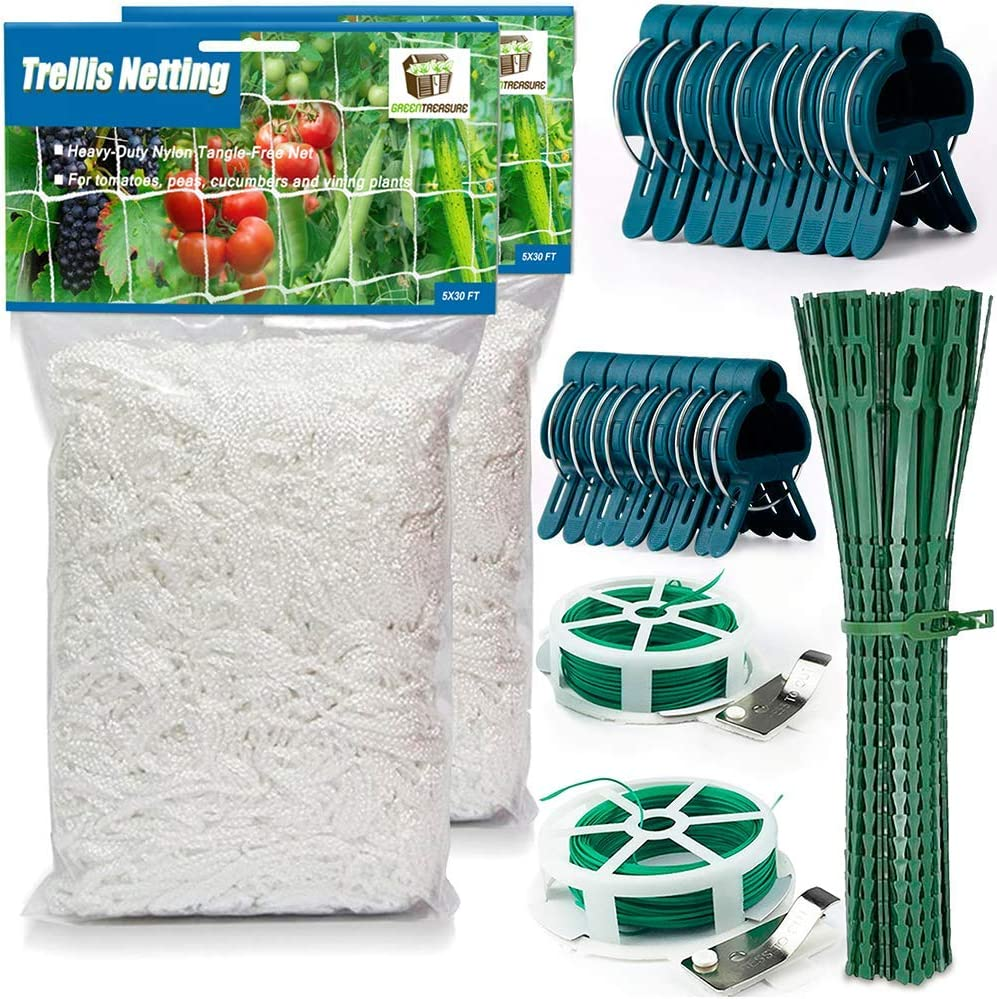 34 Pcs Trellis Netting SET for Indoor Outdoor Garden Climbing Plants 2 Flexible Twine Nets 5x30 ft 2 Cutters with 164 ft Twist Wire 9 Large & 9 Small Clips 12 Reusable Twist Ties Cucumber Tomato Peas