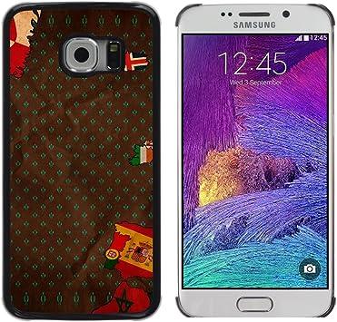 QCASE / Samsung Galaxy S6 EDGE SM-G925 / europa España portugal mapa islandia / Delgado Negro Plástico caso cubierta Shell Armor Funda Case Cover: Amazon.es: Electrónica