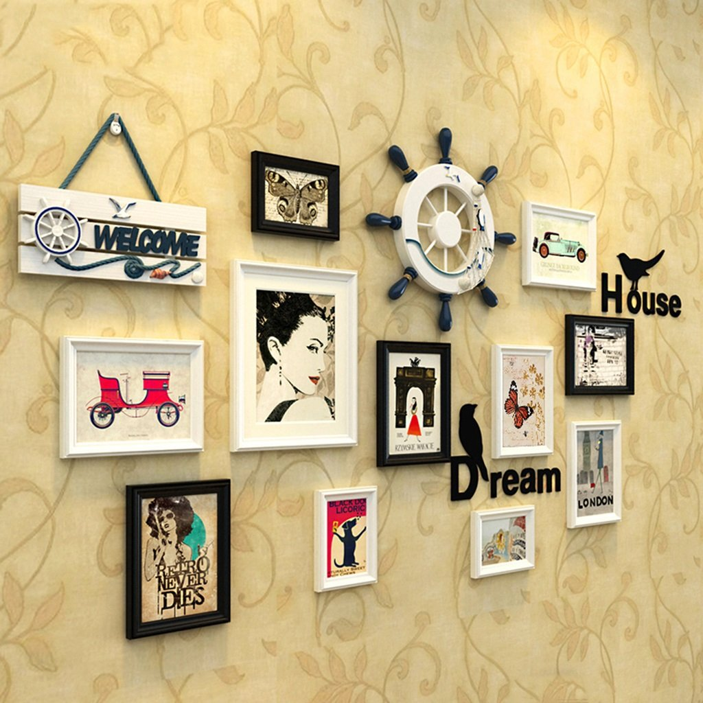 ZYANZ Creative Personality Photo Wall, Rectangular Wood (11 Packs) Rudder (1), Number Plate (1)
