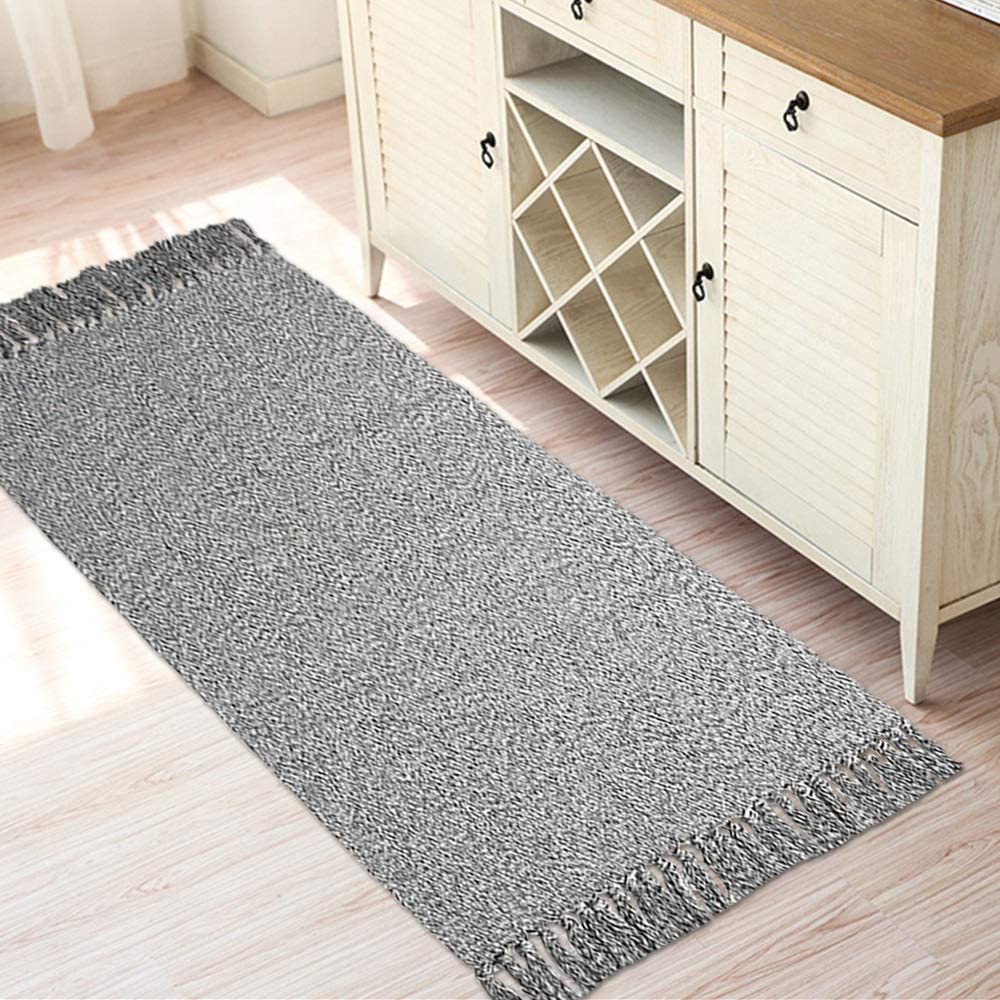 """Woven Cotton Rug with Tassels,HiiARug Cotton Throw Mat Carpet Washable Area Rug for Living Room Bedroom (2'x4'4"""", A Grey)"""