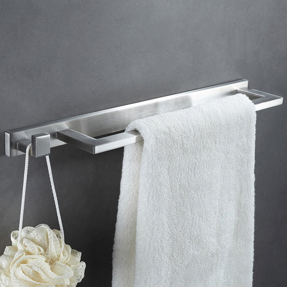 Towel Bar with Hook, Angle Simple SUS304 Stainless Steel Bathroom Towel Hanger with Single Hook Shower Towel Rack Hand Towel Holder Bath Towel Holder Towel Bar Wall Mount, Brushed Nickel by Angle Simple