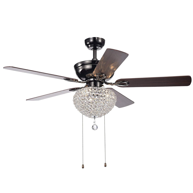 5 Leaf Draw Rope Crystal Fan Chandelier Indoor Adjustable Fan Speed Semi-Embedded Retro Ceiling Ceiling Fan Light 52 inches