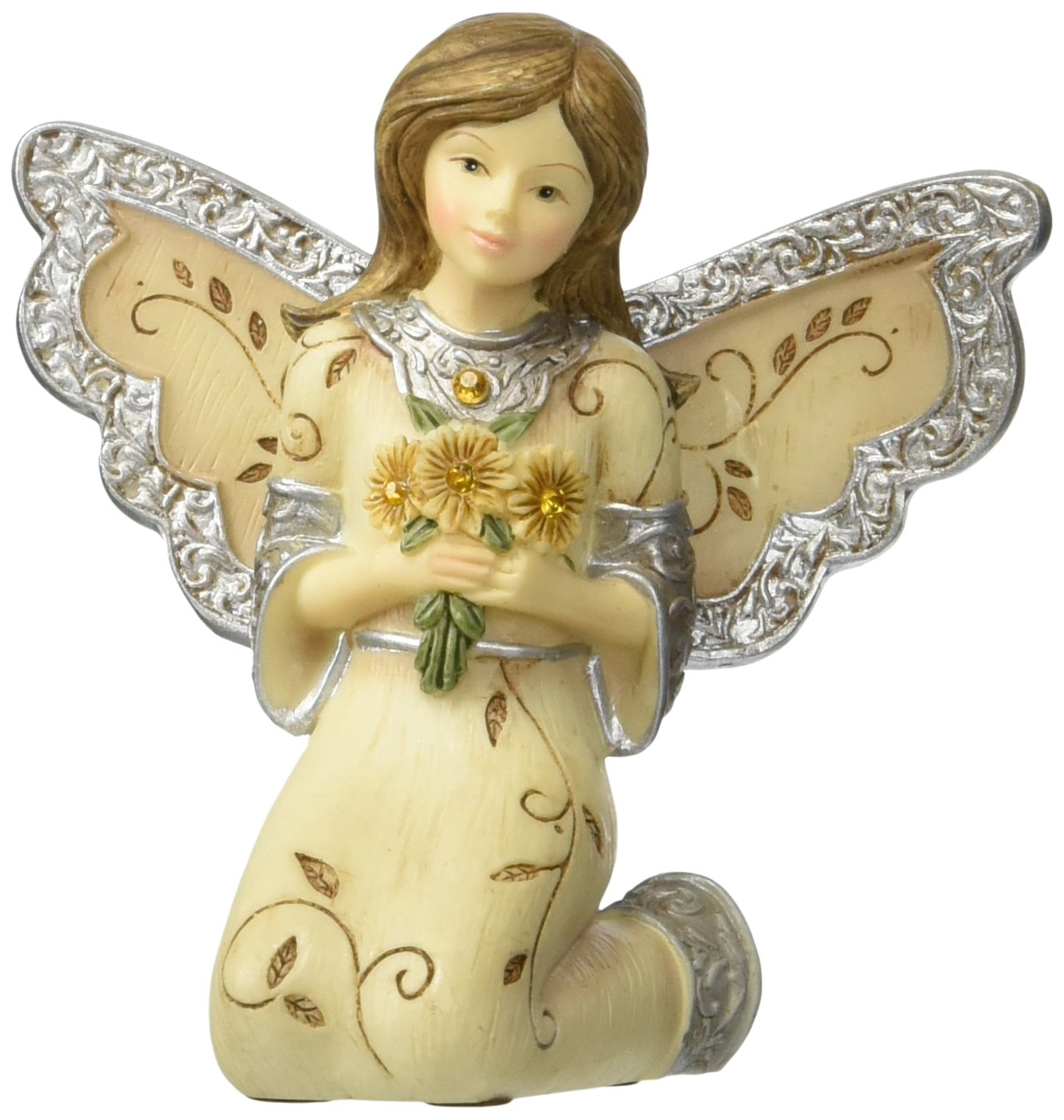 Elements November Monthly Angel Figurine, Includes Yellow Topaz Birthstone, 3-Inch
