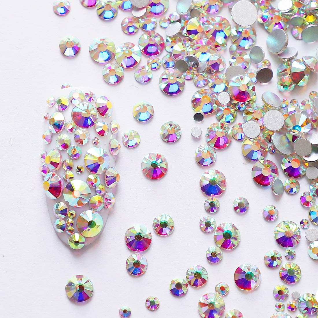4c4bcceed Amazon.com: 2592pcs Flatback Crystal Irridescent AB Rhinestones Round Beads  Gem Pearls for 3D Nail Art DIY Crafts Clothes Shoes Phone Case Decoration;  ...