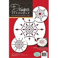 Designer Stencils C278 Large Jeweled Snowflakes Stencils, Beige/semi-transparent