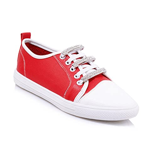 a8078fcf6555 Amazon.com  Dormery 2018 New Casual Women Flats Round Toe Platform Crystal  Lace Up Footwear Fashion Spring Handmade Girl White Shoes Big Size Red 13  ...