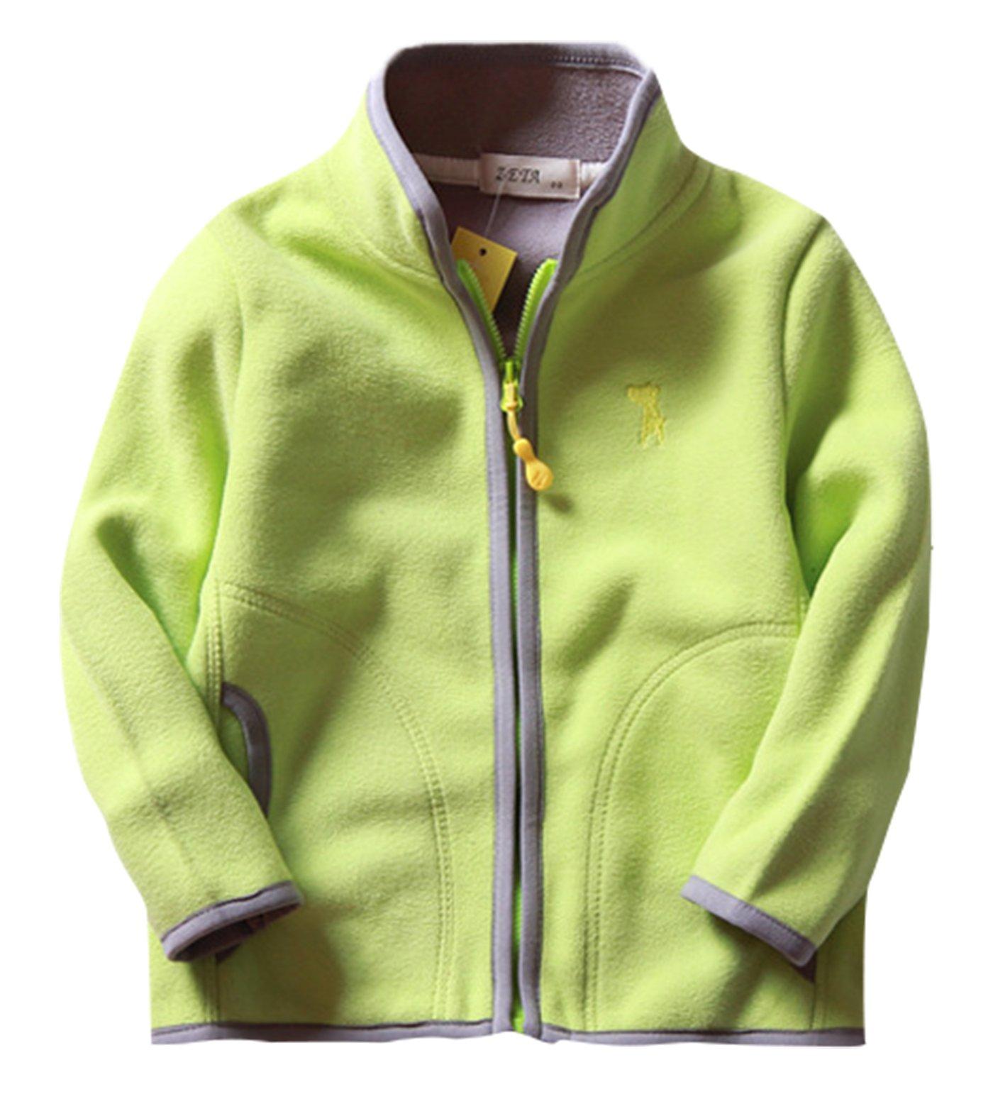 Girls Outwear Thin Fleece Warm Spring Zipper Up European Style Jacket Coat 7-8T Green