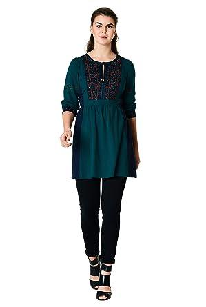 2138ebf31f2 eShakti Women s Floral embellished cotton knit tunic  Amazon.co.uk  Clothing