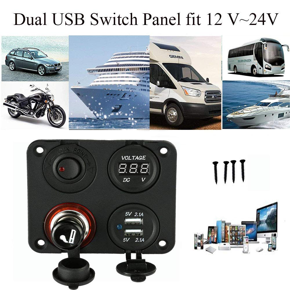 Switches Motors 4 Hole Toggle Switch Panel with Dual USB Socket ...