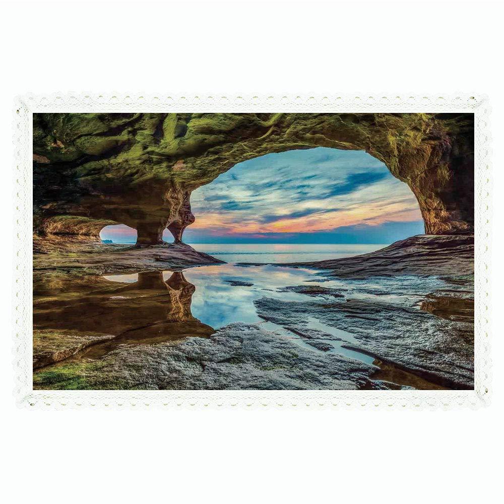 iPrint ナチュラル洞窟の装飾 長方形ポリエステルリネンテーブルクロス/レイテントパビリオン 自然のアートピクチャー/ディナーキッチンホーム装飾用 55インチx72インチ マルチ 60