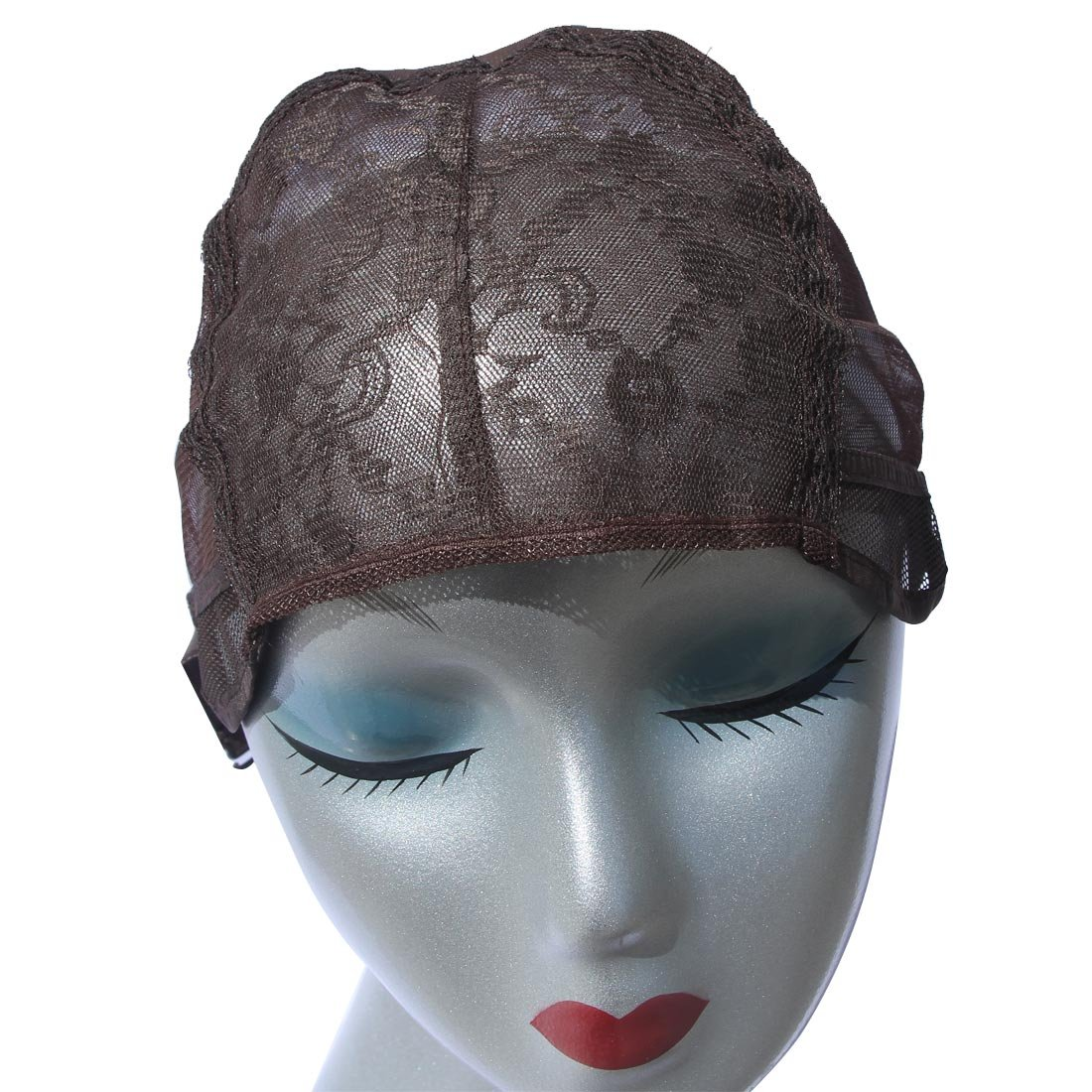MQYQ 5pcs Brown Swiss Lace Front Wig Caps With Elastic Adjustable Straps for DIY Weaving Sewing Making Wig Hair Weft