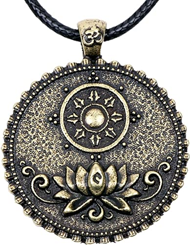 Lotus Flower Buddhist Necklace Om Mandala Pendant Buddha Tibetan Yoga Jewelry