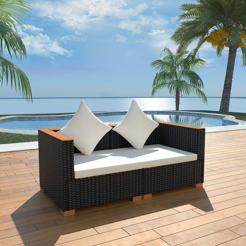 Amazon com outdoor furniture patio furniture daybed garden sofa set solid wicker poly rattan patio sun lounger seat wpc 6 piece garden outdoor