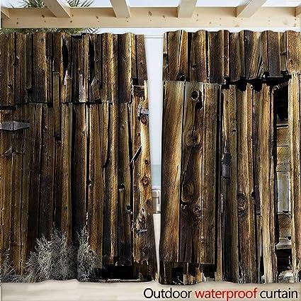 Amazon Rustic Waterproof Sliding Door Curtains Oak Barn Timber