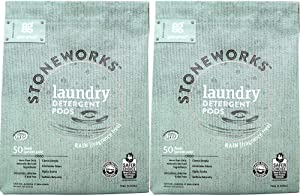 Grab Green Stoneworks Laundry Detergent Pods, Powered by Naturally-Derived Plant & Mineral-Based Powder Pods, Fragrance Free Rain, 50 Count (Pack of 2) Loads,EPA Safer Choice Certified