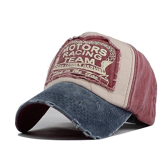 f2113f4d3ef Yusongirl Vintage Washed Denim Baseball Cap Classic Cotton Dad Hat  Adjustable Plain Unisex (Dark Red