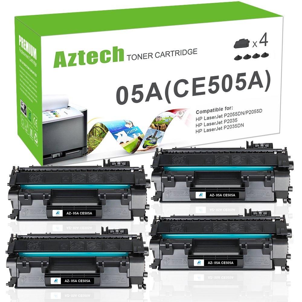 Aztech 4 Packs 05A CE505A Compatible 05A Toner Cartridge Replaces for HP 2035 HP 05A CE505A HP LaserJet P2055DN P2035N P2055D P2055X LaserJet P2055 P2035 P2030 P205 2035 2055 Toner Ink Black