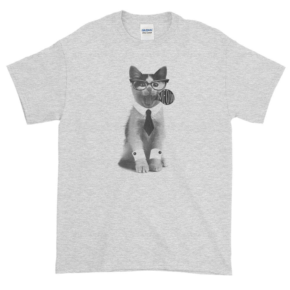Meow Cat Wearing a Tie and Cuffs Graphic Short-Sleeve T-Shirt