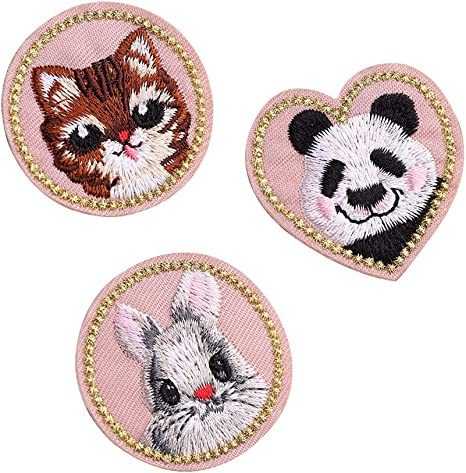 New 12PCS Mixed Cute Cat Embroidered  Iron On Patch Sew Motif Applique Clothes