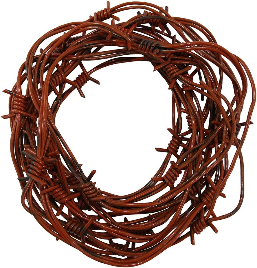 Nicky Bigs Novelties 24 Foot Fake Barbed Wire - Halloween Plastic Barb Wire Decoration Prop, Rusted Brown