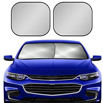 Car Windshield Sun Shade for Car,2-Piece Foldable Car Front Window Sunshade,210T Reflective Fabric Blocks UV Rays Sun Visor,Keep Your Vehicle Cool Fits Sedans SUV Truck Windshields,30.5 x 27.5 in: Automotive
