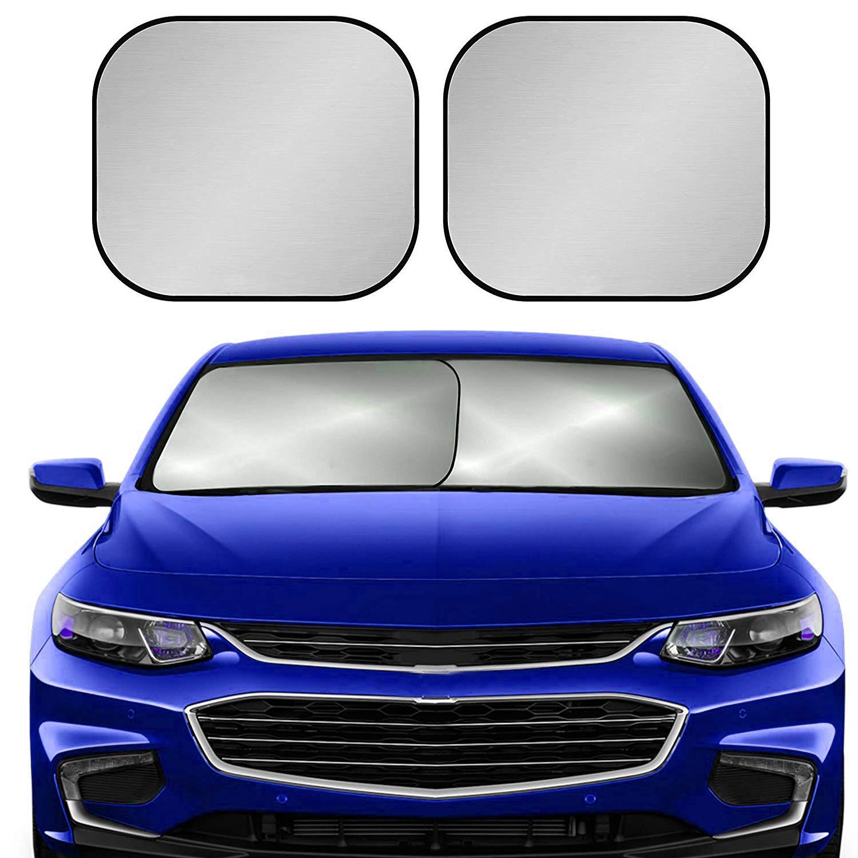 XBRN Car Windshield Sun Shade for Car,2 Piece Foldable Car Front Window Sunshade,210T Reflective Fabric Blocks UV Rays Sun Visor,Keep Your Vehicle Cool Fits Sedans SUV Truck Windshields