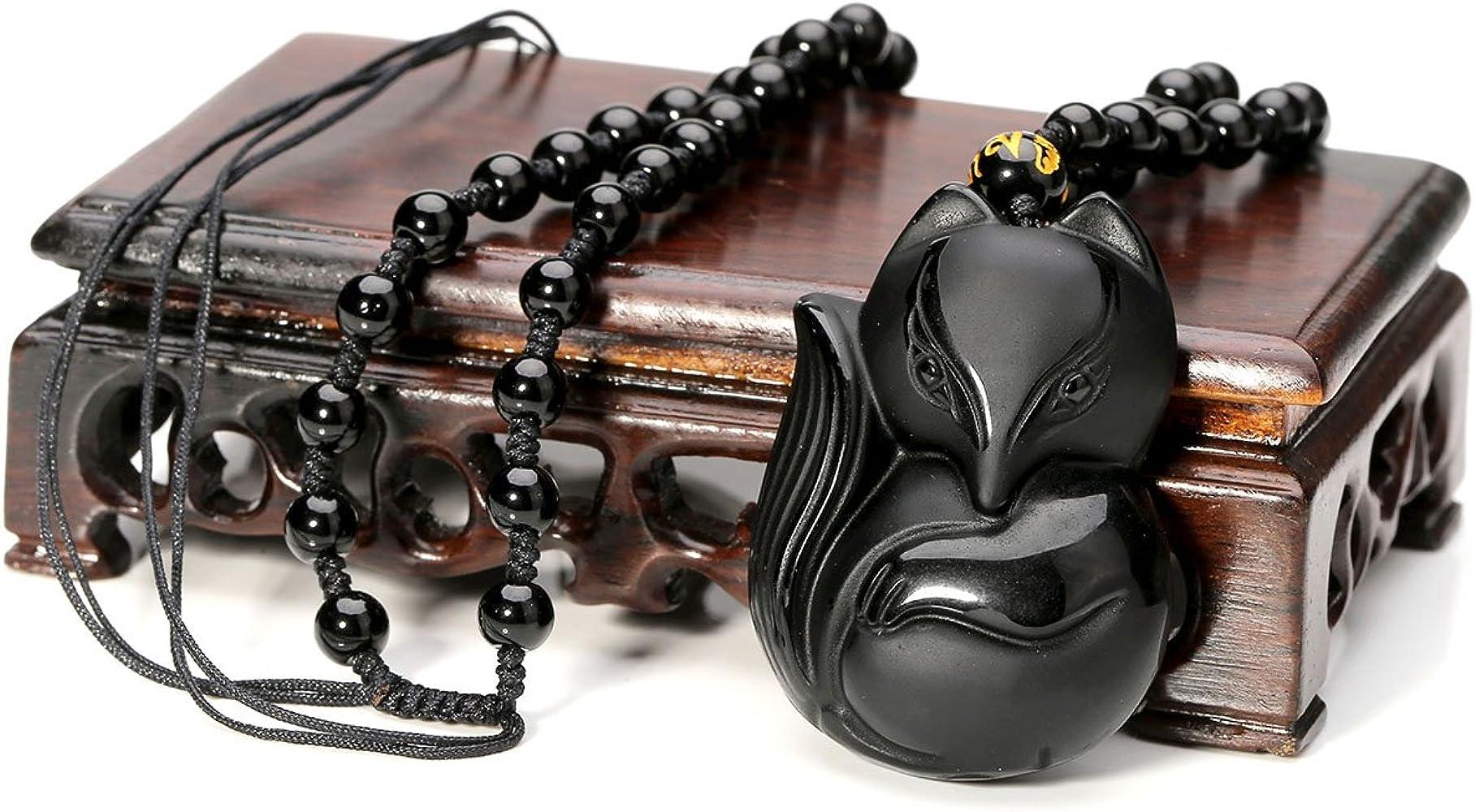Chaîne 100/% naturel obsidienne sculptés à la main Lovely Fox Lucky Collier Pendentif