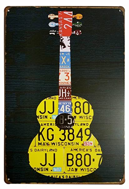 Amazon.com: Music Guitar Change the World Retro Vintage Tin Sign ...