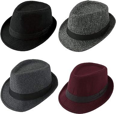 Unisex Vintage Fedora Straw Hat Wide Brim Floppy Trilby Hat Solid Color Classical Jazz Cap
