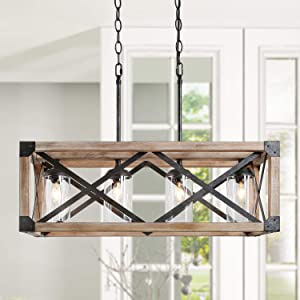 LOG BARN Farmhouse Chandelier, Kitchen Island Lighting in Rustic Wood and Metal Finish with Clear Glass Shades, 27.5