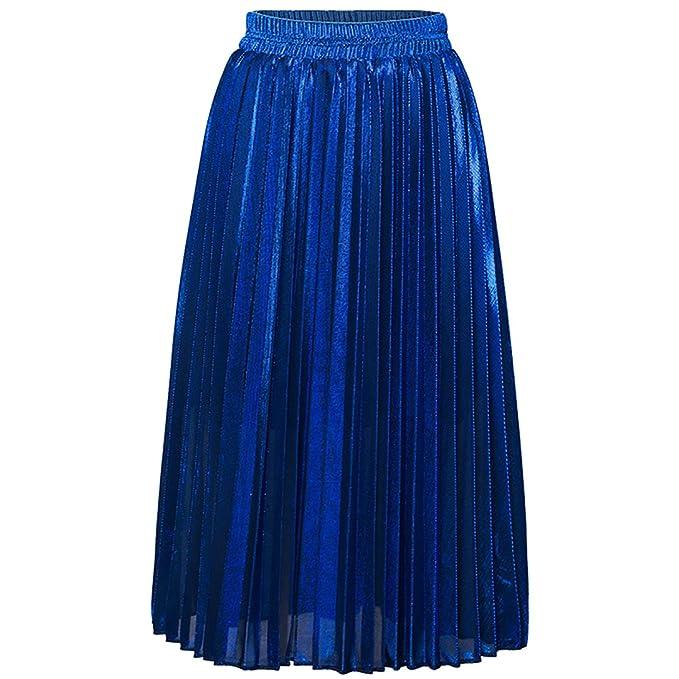 90cd29560 Vdual Mujer Retro Cintura Alta Midi Faldas Corta de Brillante ...