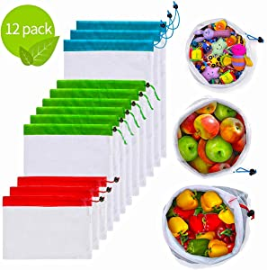 12Pcs Reusable Mesh Produce Bags, Washable Premium Through Lightweight Mesh Bags, Eco Friendly Toy Fruit Vegetable Produce Bags with Drawstrings for Home Shopping Grocery Storage - 3 Various Sizes